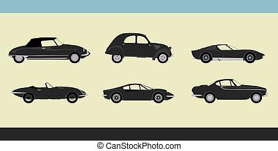 Retro cars - Vector of old-fashioned retro cars