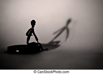 wire_human - wiry man and his shadow