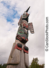 Tall and colorful totem pole