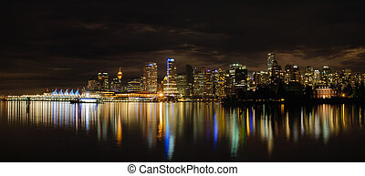 Vancouver BC Downtown Skyline at Night - Vancouver BC...
