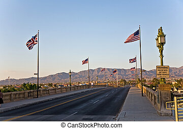 London Bridge in Lake Havasu, old historic bridge rebuilt...