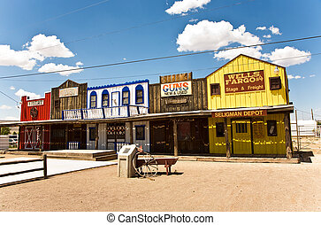old wooden western houses at the historic Route 66