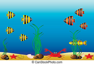 Sea life - Vector illustration of a sea life .