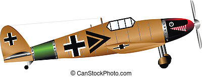 German WW2 fighter isolated on white background - vector