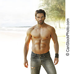 Beautiful man - Portrait of a beautiful shirtless man in...