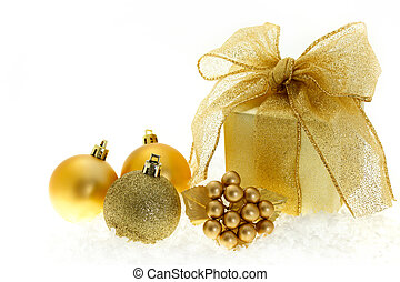 Christmas gift on white background
