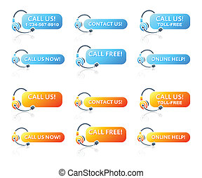 Call us! stickers for online and phone customer support