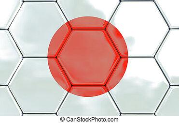 3D, -, futebol, textura, -, Japão