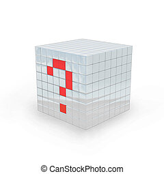 3D - Questionmark cube - Cube with question mark made in 3D...