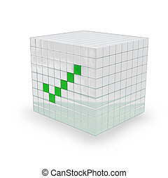 3D - I agree cube - White Cube with a green ok mark on it,...