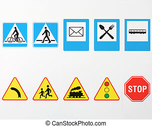 Traffic signs in Europe on white background