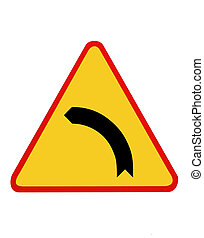 Traffic sign- ,perilous bend to right