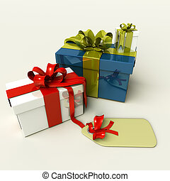 3D presents for christmas or birthdays, isolated on white...