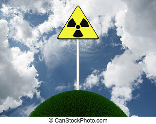 Sign of radiation on the lap of nature. 3D image