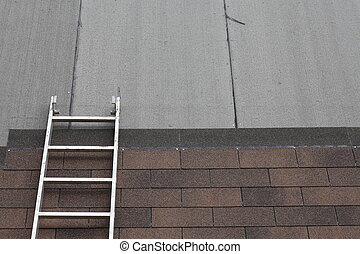 stepladder on roof - brown toned architectural style asphalt...