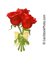 3D roses tied together with a ribbon, isolated on white...