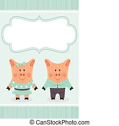 Piggies couple. Invitation card