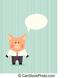 Pig in business suit Cartoon illustration