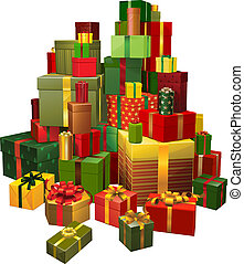 Illustration of large pile of gifts - Illustration of a...