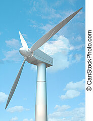 3D wind mill under blue sky, made in 3D