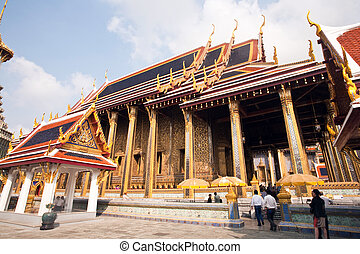 famous temple Phra Sri Ratana Chedi in the Grand Palace -...