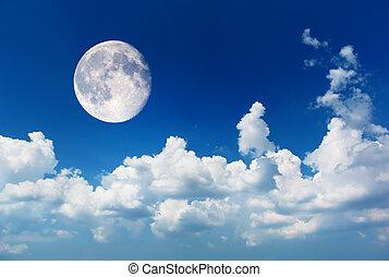 luna, profundo, azul, cielo