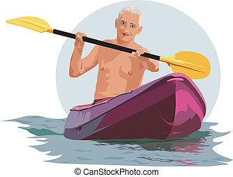 A man with an oar in the boat - Tanned white man floating in...