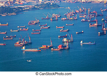Harbor in Hongkong - Hong Kong city view from Victoria peak...