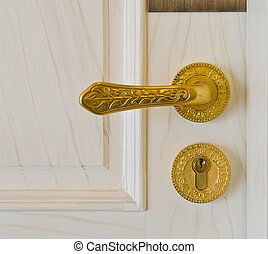 golden door handle and deadbolt on wooden door
