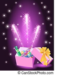 Christmas glowing gift box with candy and yellow bow