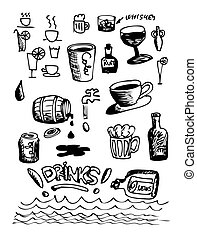 hand drawn drink icons