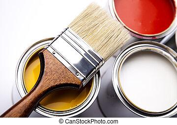 pintura, escova, latas