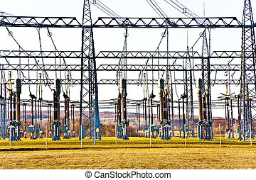 electricity relay station with high-voltage insulator and...