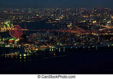 Osaka harbor area at night - Harbor area of Osaka City in...