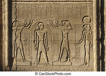 relief at Chnum Temple in Egypt - detail of a relief at the...