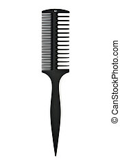 black plastic comb-sided isolated on white background