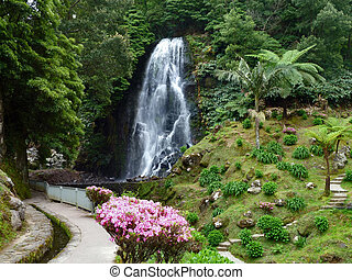 cascade at the Azores - cascade at Sao Miguel Island