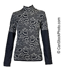 black women's blouse with a floral pattern in the studio on...