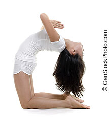 Yoga Posture - Woman in yoga, Camel Posture Ustrasana, on...
