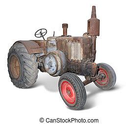 nostalgic rusty bulldog - nostalgic rusty tractor isolated...