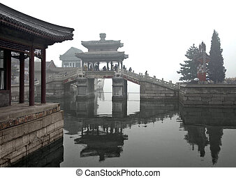 around Beijing - rainy scenery with traditional buildings,...