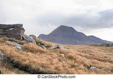 scottish landscape near Stac Pollaidh - clouded panoramic...