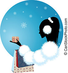 girl or woman with christmas gift of winter