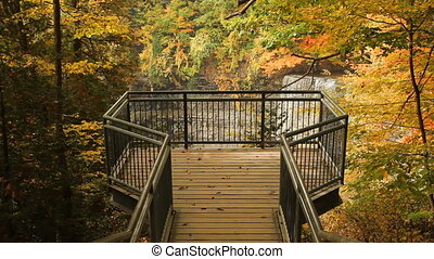 Scenic autumn lookout. - Lookout with view of Tews Waterfall...