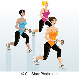 Young attractive girls exercising