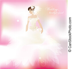 Bride on romantic  pink background