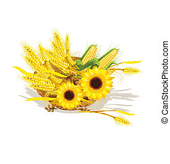 Seasonal design with wheat and sunflower in wicker baskets