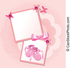 Pink baby shoes invitation card