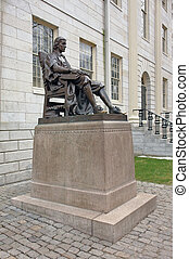 statue of John Harvard - In 1884 Samuel J. Bridge presented...