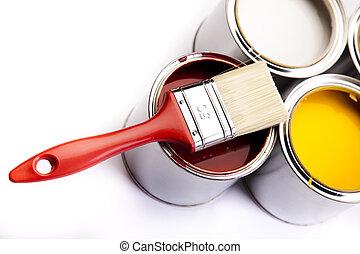tintas, latas, coloridos,  &